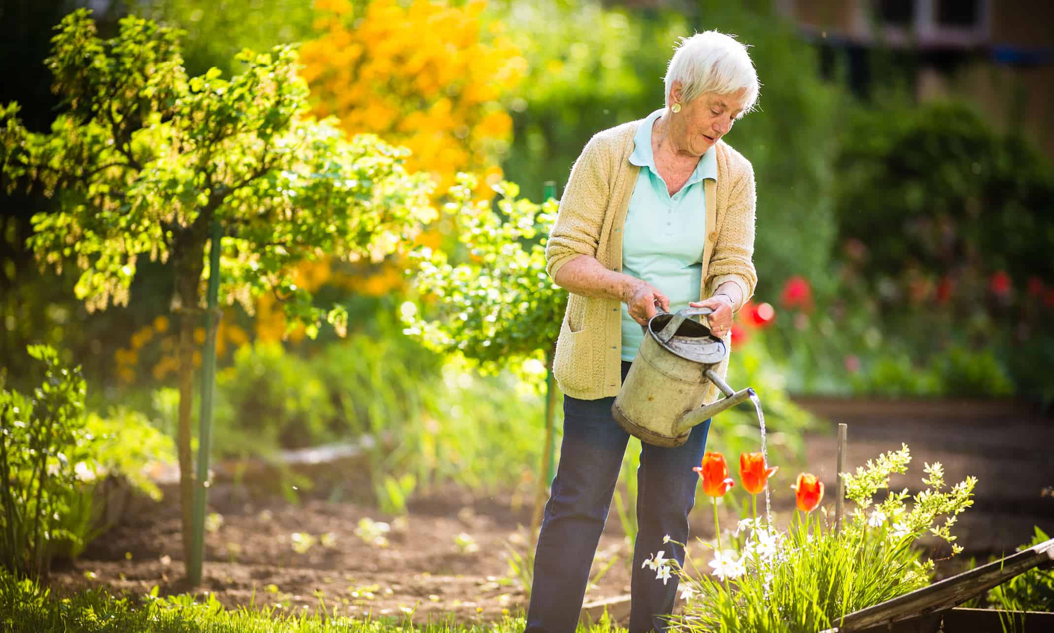 Testimonials of outstanding care - lady watering the garden